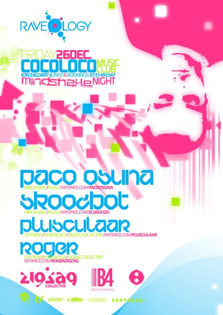 Paco Osuna, Skoozbot, Mindshake, Plus 8, Cocoloco, poster design by Alex Tass