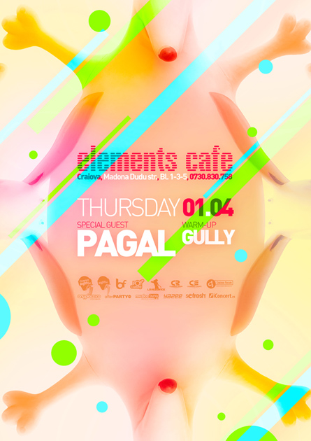 Elements Cafe, Pagal poster design by Alex Tass