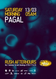 Rush, afterhours, Pagal poster design by Alex Tass