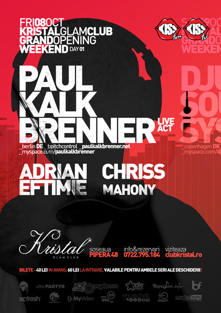 Paul Kalkbrenner, Adrian Eftimie, Chriss, Kristal Glam Club, poster design by Alex Tass