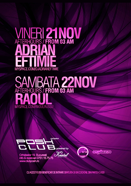 Adrian Eftimie, Raoul, Posh Club, poster design by Alex Tass