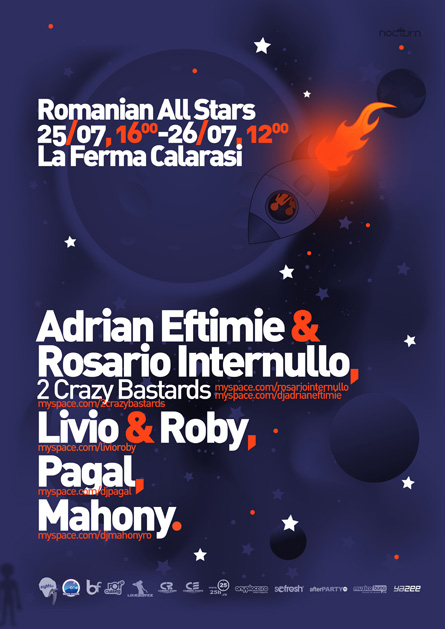 Romanian all stars - Adrian Eftimie, Rosario Internullo, Livio and Roby, Pagal, La Ferma, poster design by Alex Tass