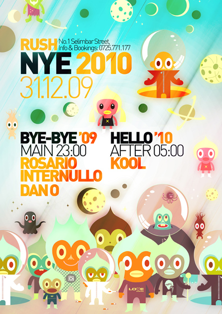 Rosario Internullo, Dan o, Kool, NYE party, poster design by Alex Tass