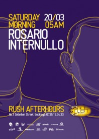 Rush, afterhours, Rosario Internullo poster design by Alex Tass