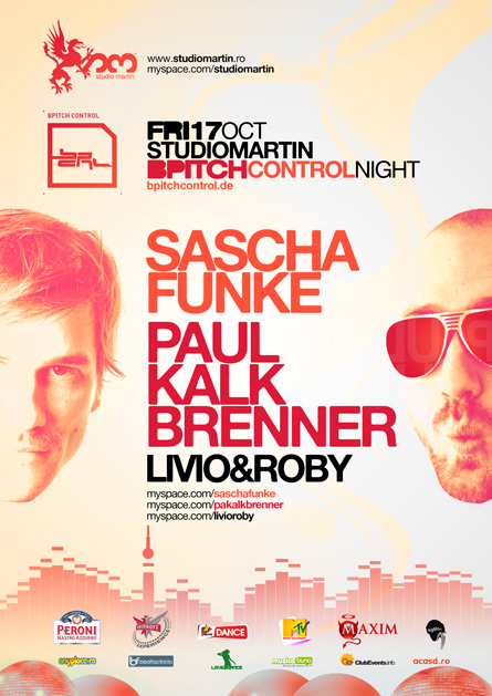Sascha Funke, Paul Kalkbrenner, Livio and Roby, BPitch Control night, Studio Martin, poster design by Alex Tass