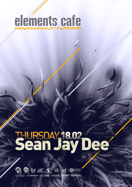 Elements Cafe, Sean Jay Dee poster design by Alex Tass