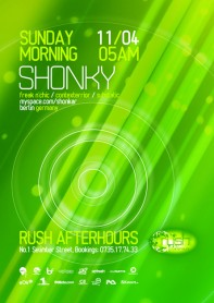 Rush Afterhours, Shonky, Freak n'Chic, poster design by Alex Tass