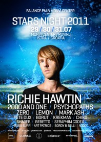 Stars Night, Richie Hawtin, m_nus, 2000 and One, Psychopaths, Zero, Lemon, Mark Ash, Monvi Center, Istra, Croatia, poster design by Alex Tass