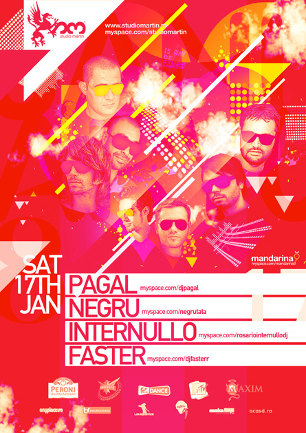 Studio Martin, Mandarina9, showcase, Pagal, Negru, Internullo, poster design by Alex Tass