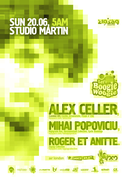 Alex Celler, Mihai Popoviciu, Studio Martin afterhours, poster design by Alex Tass