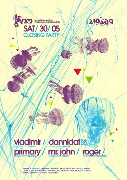 Studio Martin closing season for the summer break party poster design by Alex Tass