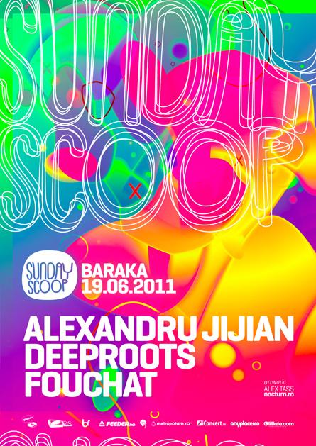 Sunday Scoop 01, Alexandru Jijian, Deeproots, Fouchat, Baraka, poster design by Alex Tass