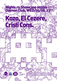 Kozo, El Cezere, Cristi Cons, nights.ro, showcase, space invaders, poster design by Alex Tass