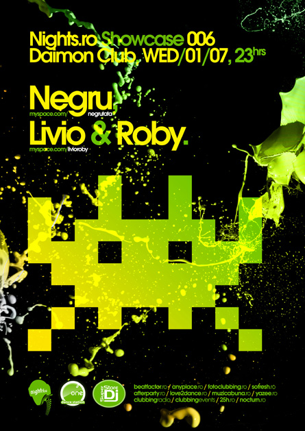 Negru, Livio and Roby, nights.ro, showcase, space invaders, poster design by Alex Tass