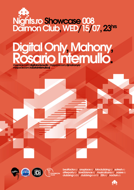 digital only, mahony, rosario internullo, nights.ro, showcase, space invaders, poster design by Alex Tass