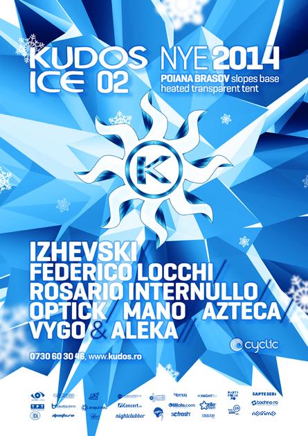 Andrey Pushkarev, Izhevski, Federico Locchi, Kudos Ice NYE poster design by Alex Tass