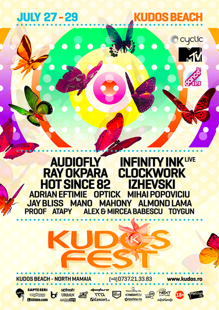 Audiofly, Infinity Ink, Ray Okpara, Clockwork, Hot Since 82, Izhevski, Kudos Fest poster design by Alex Tass
