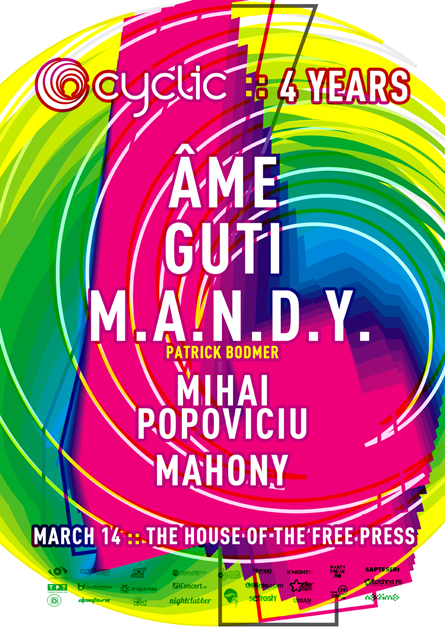 Cyclic 4 years anniversary Ame, Guti, MANDY poster design by Alex Tass