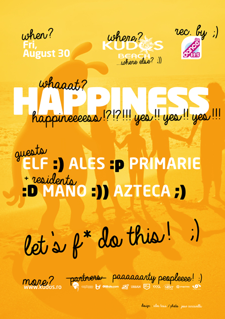 Happiness Kudos Beach poster design by Alex Tass