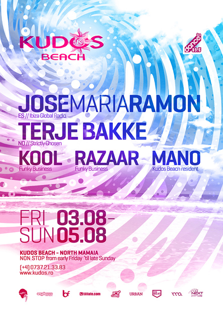 Jose Maria Ramon, Terje Bakke, Kudos Beach summer poster design by Alex Tass