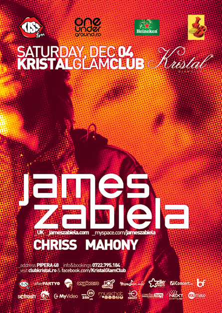 Kristal Glam Club, James Zabiela, poster design by Alex Tass