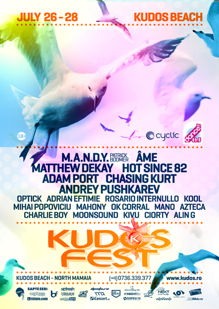 MANDY, Ame, Matthew Dekay, Hot Since 82, Adam Port, Chasing Kurt, Andrey Pushkarev, Kudos Fest poster design by Alex Tass
