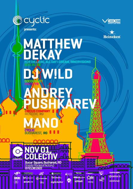 Matthew Dekay, Dj W!ld, Andrey Pushkarev, Mano, poster design by Alex Tass