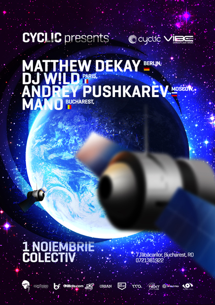 Matthew Dekay, Dj W!ld, Andrey Pushkarev, Mano, space, earth, poster design by Alex Tass