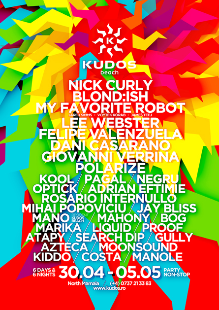 Nick Curly, Blondish, My favorite Robot, Lee Webster, Felipe Valenzuela, Dani Casarano, Giovanni Verrina, Polarize, Kudos beach poster design by Alex Tass