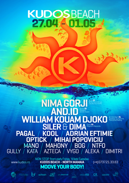 Nima Gorji, And.Id, William Kouam Djoko, Kudos Beach spring poster design by Alex Tass