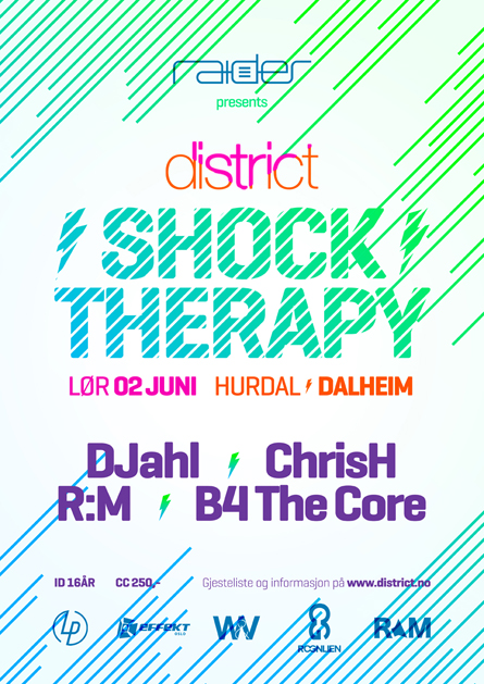 Shock Therapy with DJahl, ChrisH, RM, B4 the core, poster design by Alex Tass