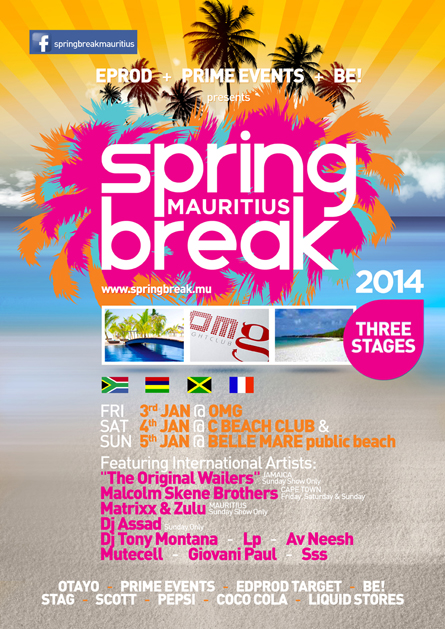 Spring Break Mauritius 2014 OMG, C Beach Club, Belle Mare beach, poster design by Alex Tass