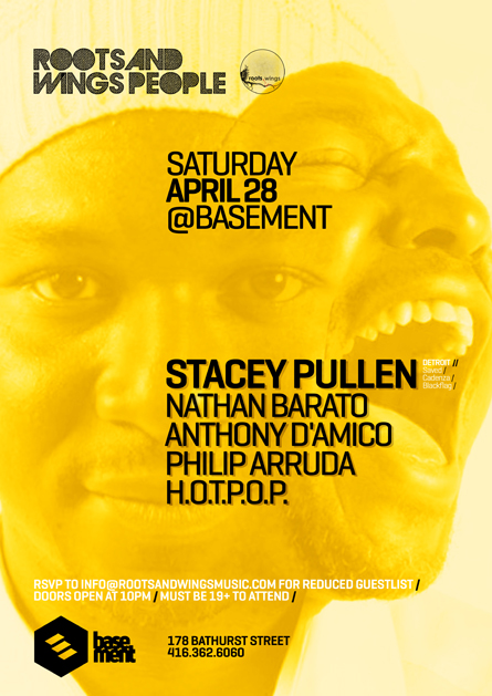 Stacey Pullen @ Basement poster design by Alex Tass