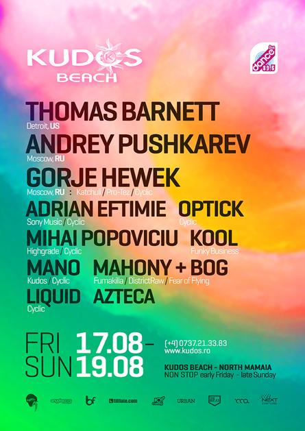 Thomas Barnett, Andrey Pushkarev, Gorje Hewek, Kudos Beach summer poster design by Alex Tass