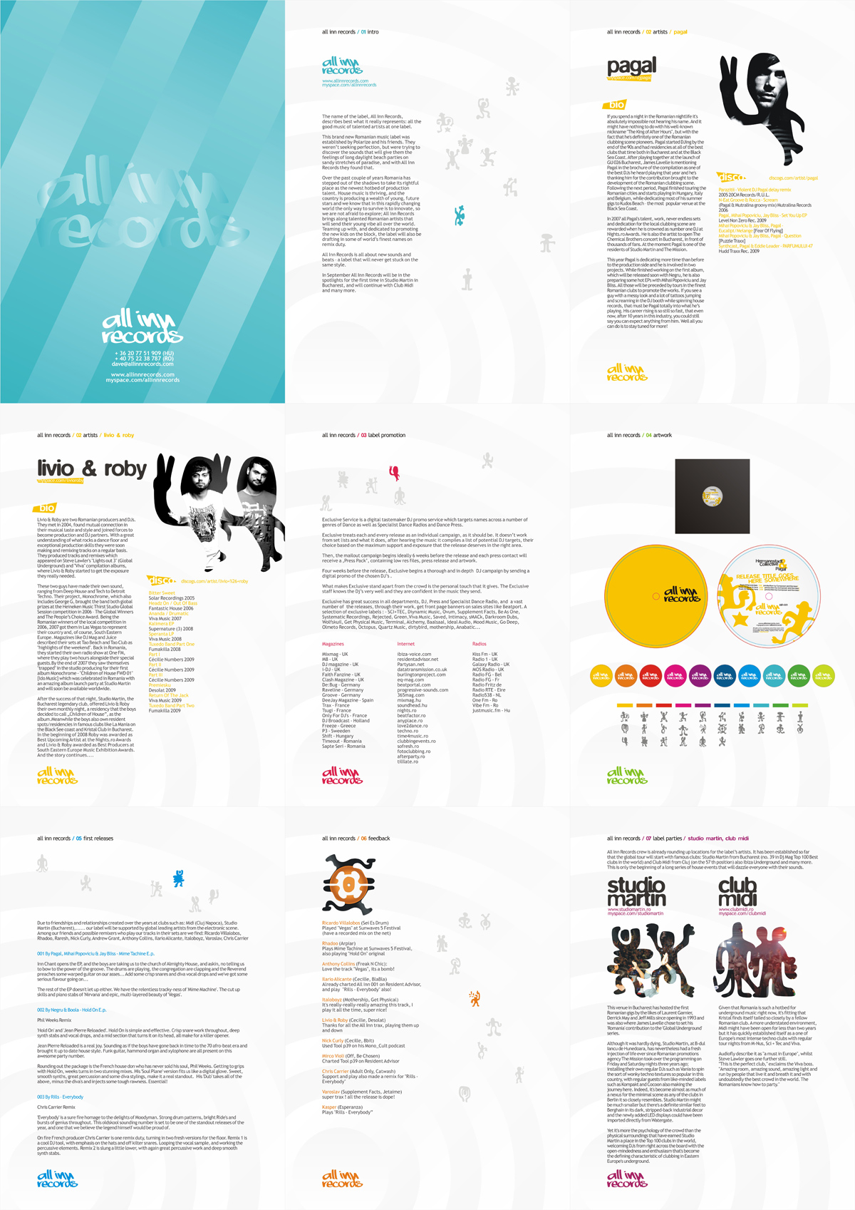 All Inn, electronic music records label, corporate presentation, design by Alex Tass