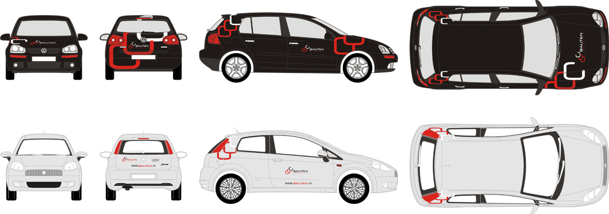 Bauten construct, constructions, real estate, civil engineering, car branding, VW Golf 4, Fiat Punto, design by Alex Tass
