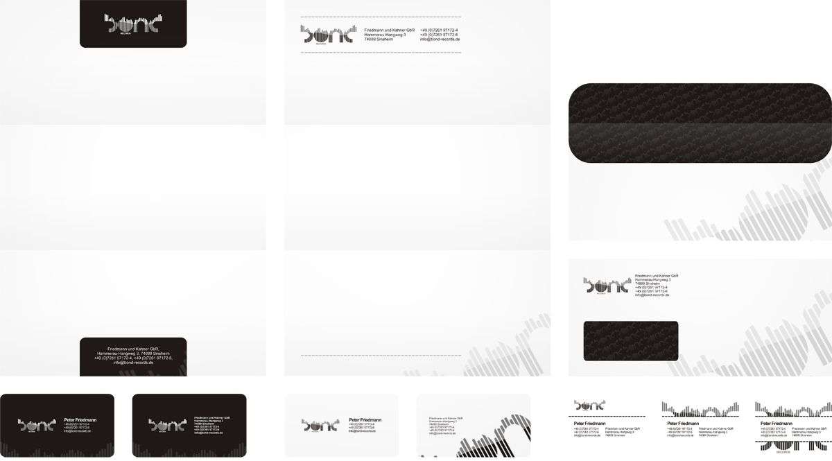 Bond records, electronic music records label, business card, letterhead, envelope, stationery, email signature, design by Alex Tass