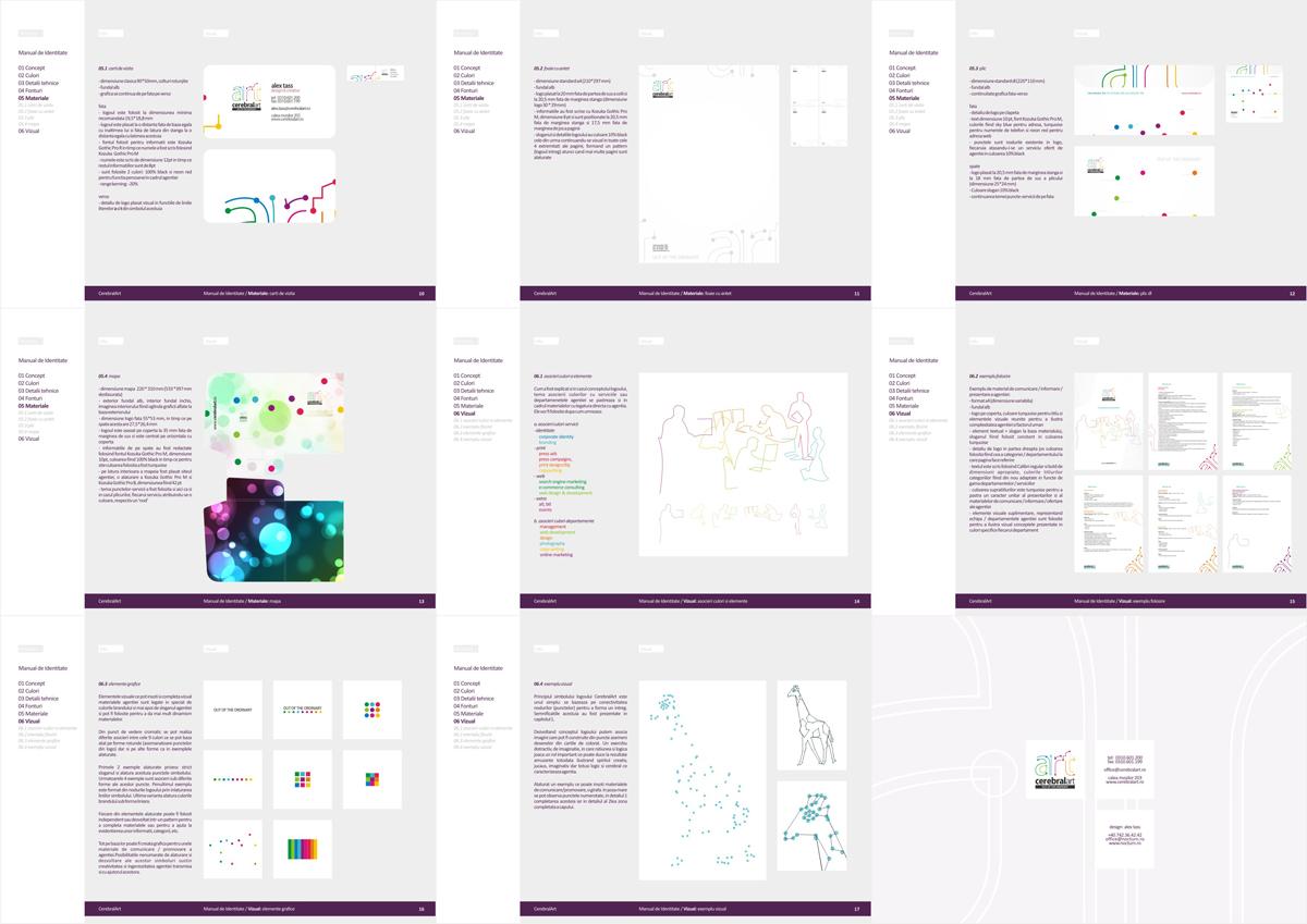 Cerebral Art, advertising agency, branding manual design by Alex Tass
