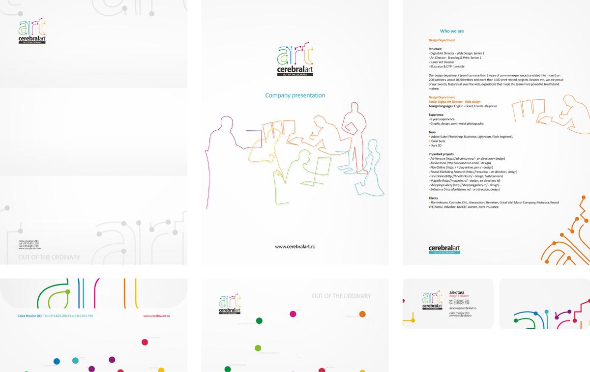 Cerebral Art, advertising agency, corporate presentation, business cards, envelope, letterhead, stationery design by Alex Tass