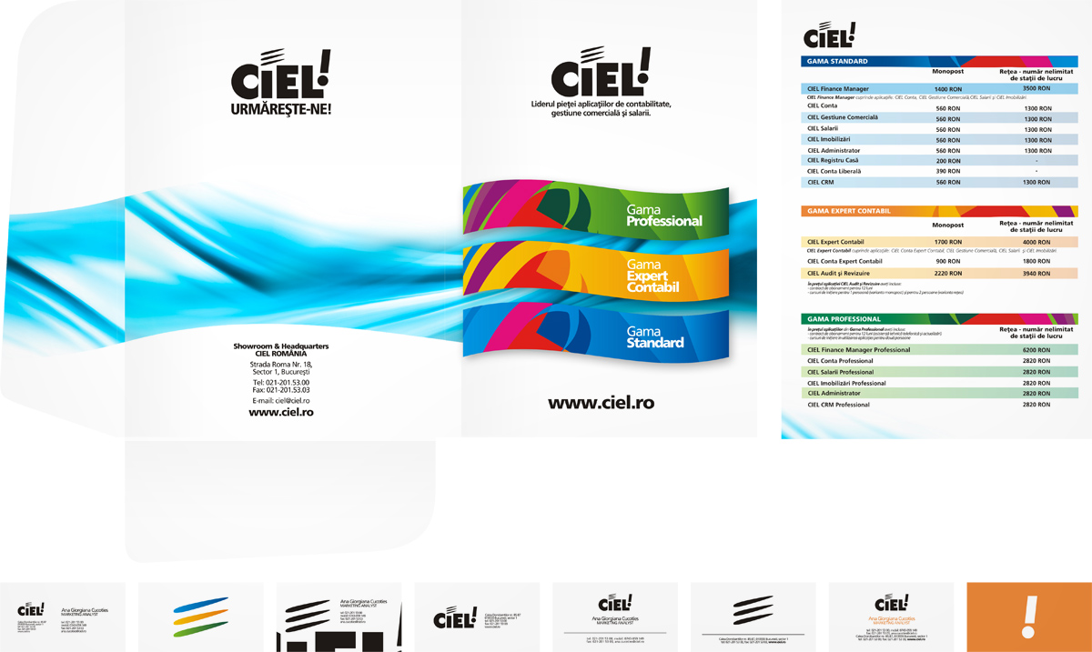 Ciel, accountancy firm, folder, product presentation, business cards, stationery design by Alex Tass