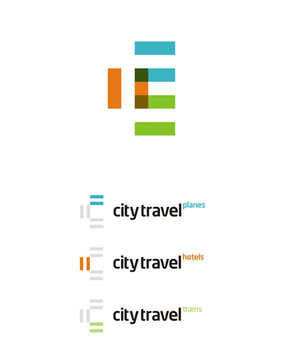 city travel agency planes hotels trains logo design by alex tass