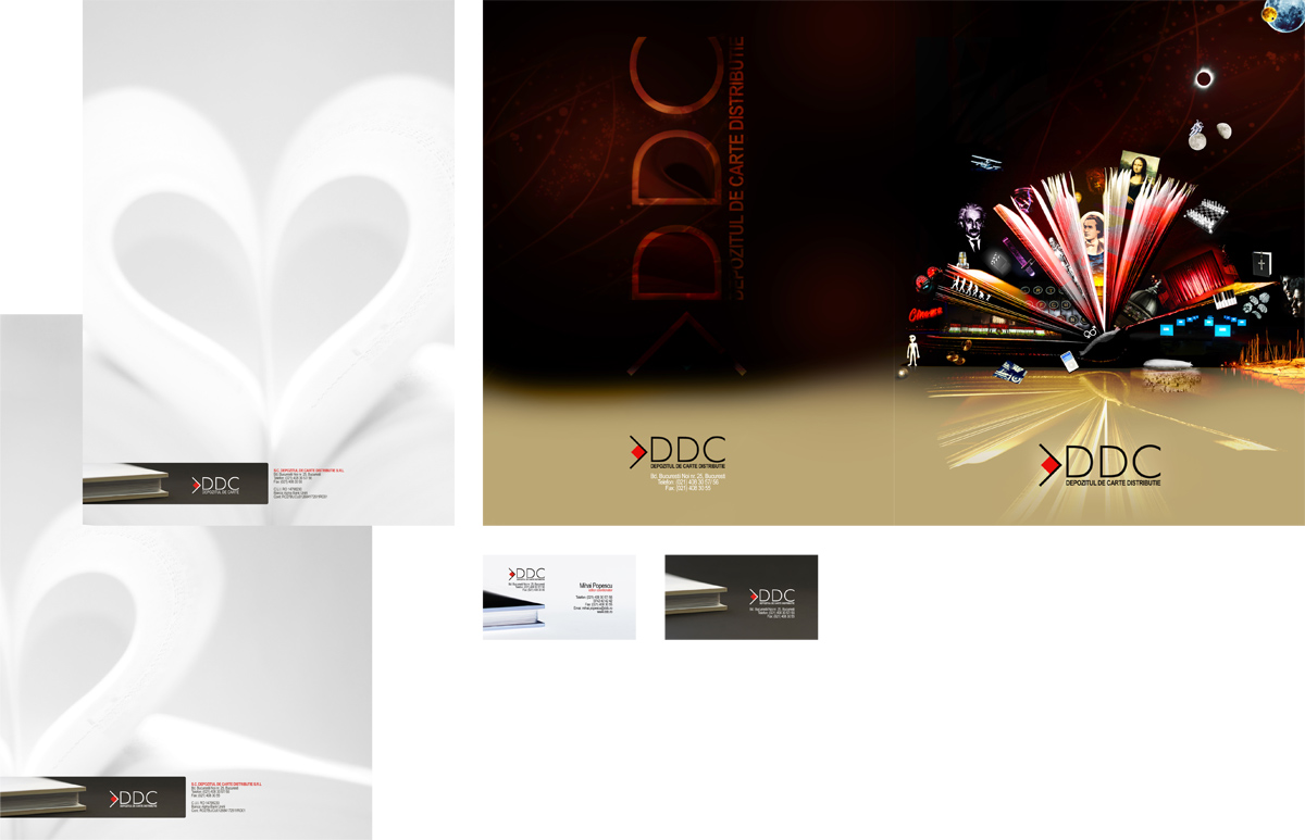 DDC, book shop, book delivery, library, business card, letterhead, stationery, design by Alex Tass