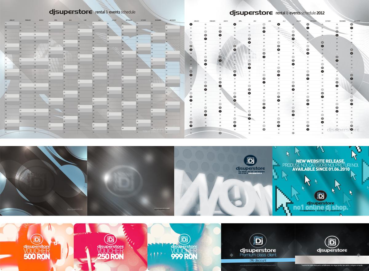 DjSuperStore, calendar, wallpapers, vouchers, fidelity card, design by Alex Tass