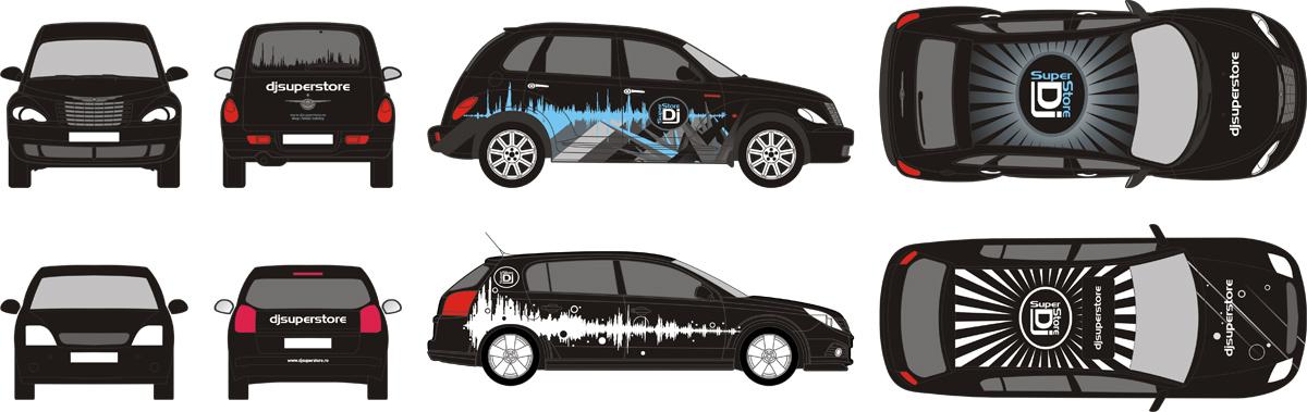 DjSuperStore, opel signum, chrysler pt cruiser, car branding design by Alex Tass