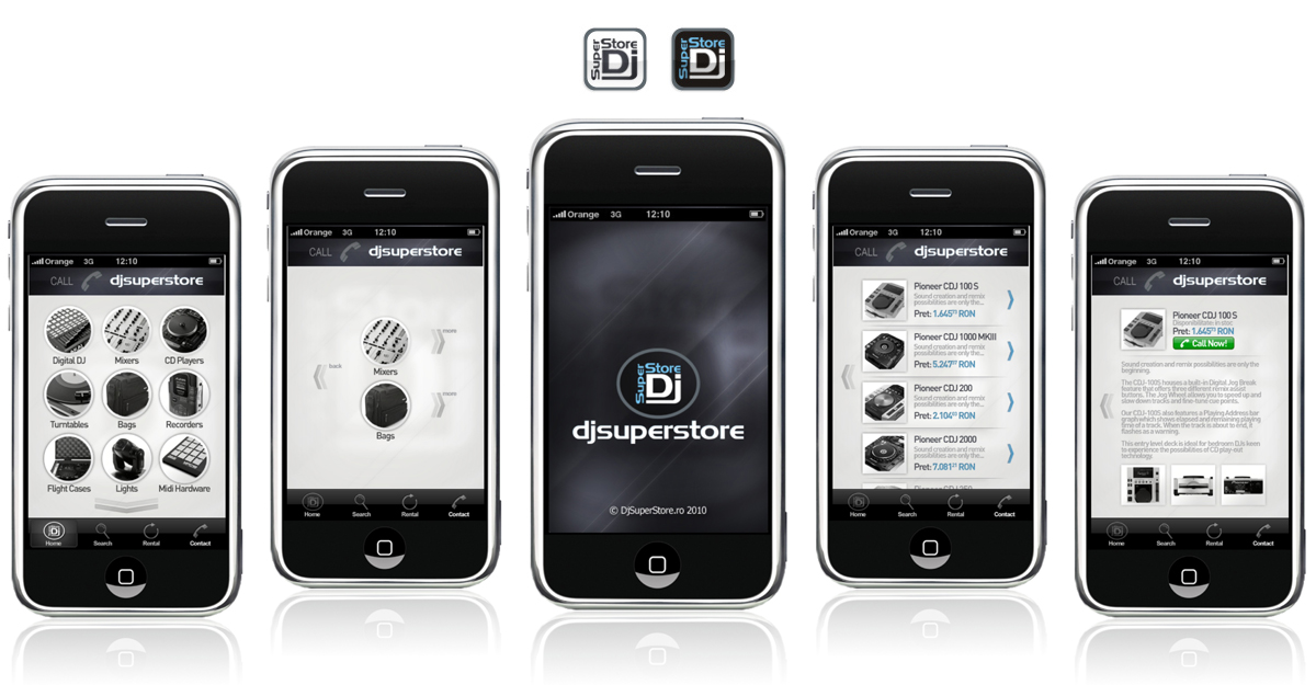 DjSuperStore, iPhone application interface design by Alex Tass