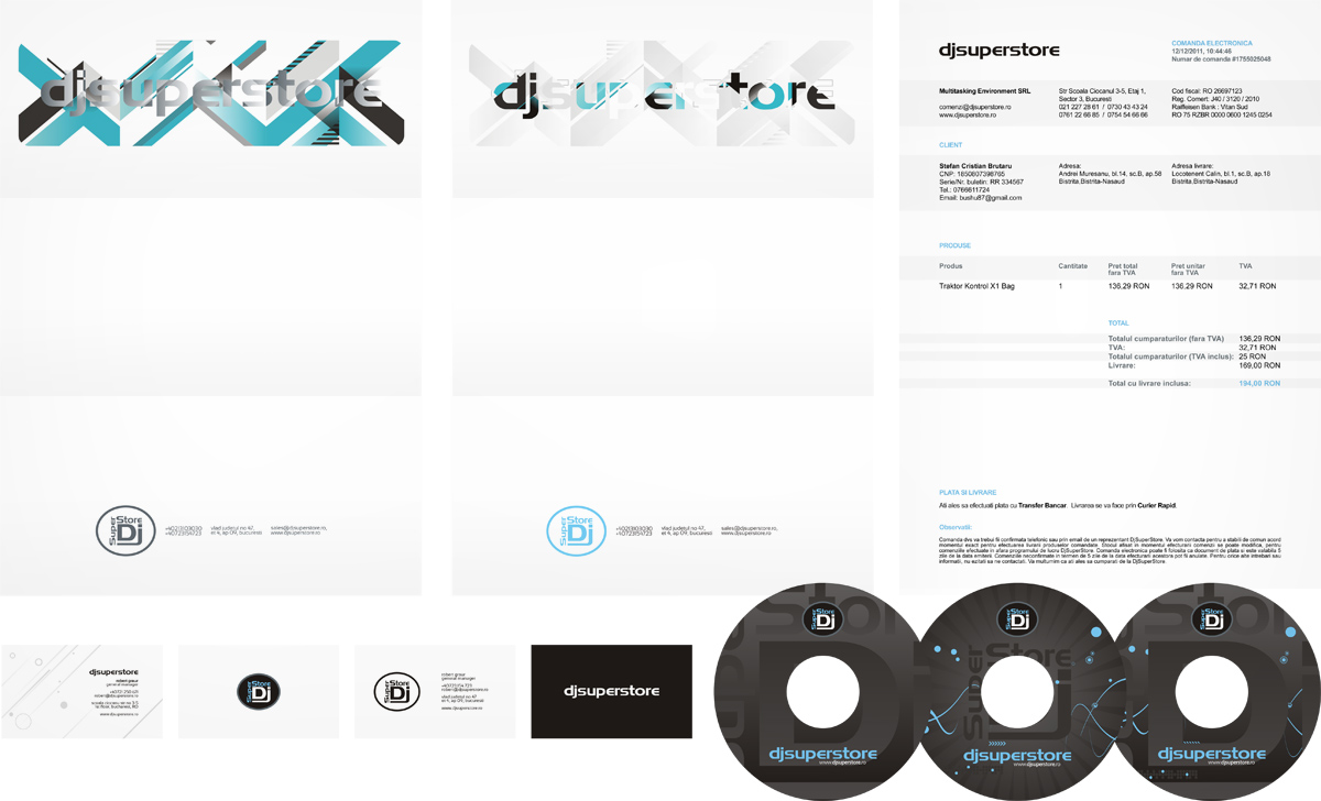 DjSuperStore, letterhead, invoice, business cards, cd, dvd, stationery design by Alex Tass