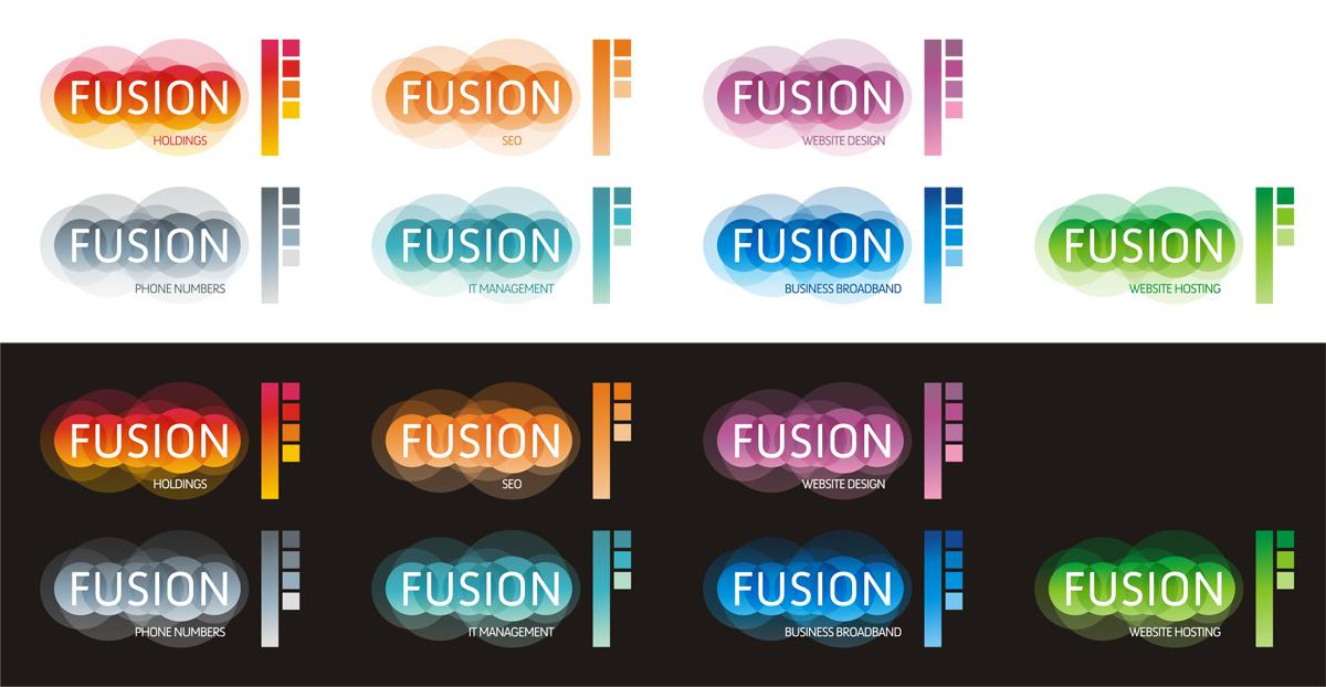 Fusion, logo design sub-branding by Alex Tass