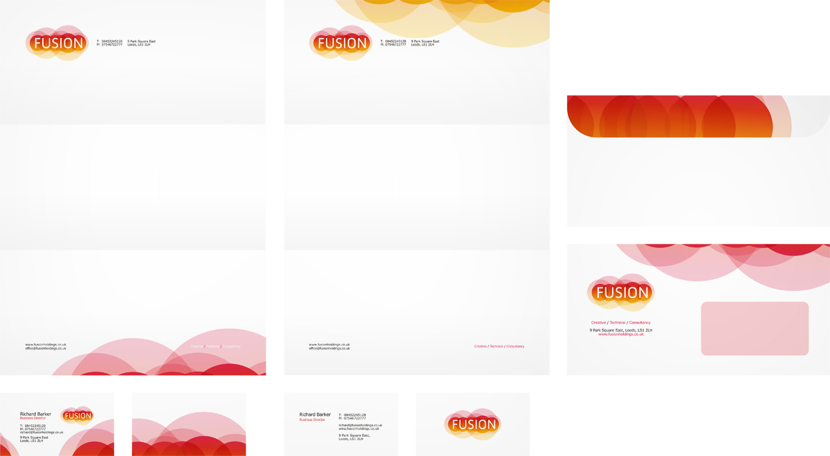 Fusion, online advertising agency, business card, letterhead, envelope, stationery, design by Alex Tass