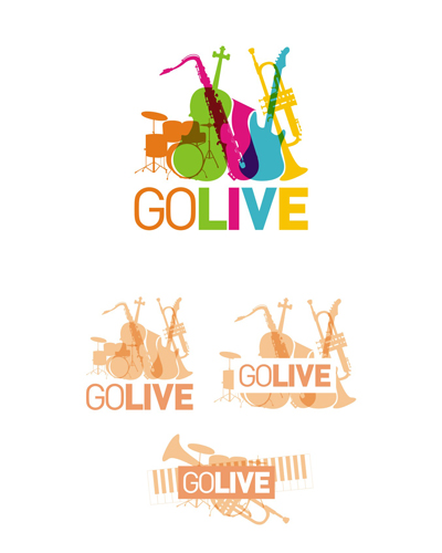 go live, music instruments, live concerts, party concept, event concept, logo design