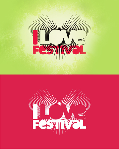 I love festival, international electronic and alternative music festival logo design